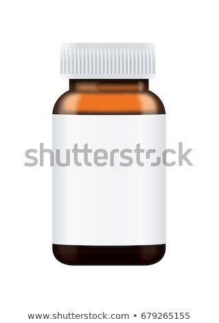 Bottle of water, glass medicine bottle and white pills Stock photo © ironstealth