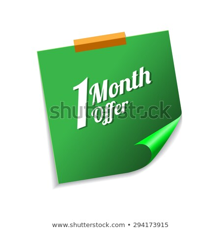 1 Month Offer Green Sticky Notes Vector Icon Design Stock photo © rizwanali3d