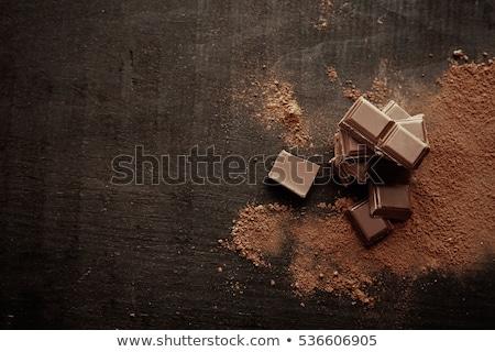 Chocolat table en bois pièces bois lumière table Photo stock © Madrolly