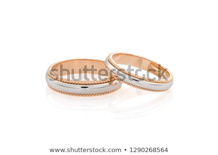 silver wedding ring on pink background stock photo © netkov1