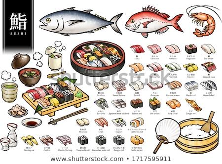 Sushi ton balığı yalıtılmış beyaz gıda restoran Stok fotoğraf © konturvid
