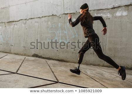 Fille prothèse illustration femme sport coucher du soleil Photo stock © adrenalina