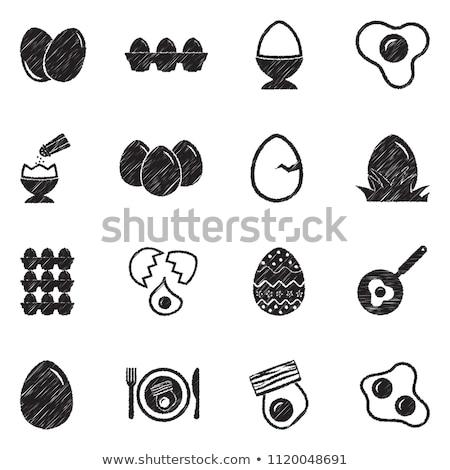 Sahanda yumurta ikon tebeşir tahta Stok fotoğraf © RAStudio