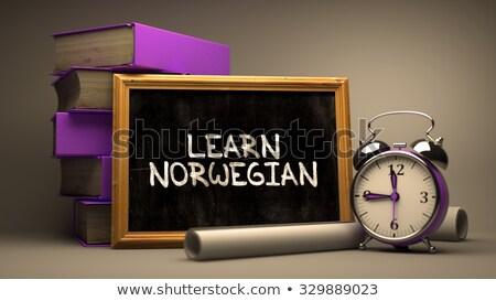 learn norwegian   chalkboard with hand drawn text stock photo © tashatuvango
