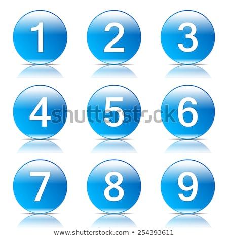 Aantal vector Blauw web icon knop Stockfoto © rizwanali3d