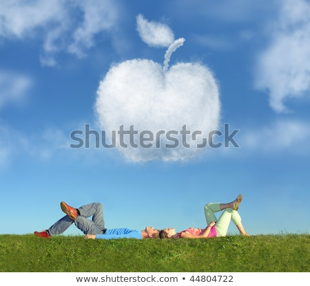 couple · herbe · rêve · pomme · collage · fille - photo stock © Paha_L