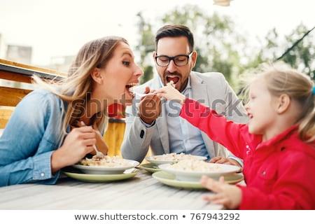 Dining familie liefde koffie kind haren Stockfoto © Paha_L