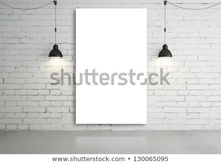 Foto stock: Dois · quadros · cinza · parede · de · tijolos · arte · espaço