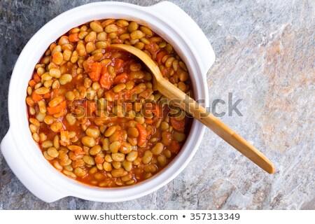blanco · mantequilla · frijoles · plato · bambú - foto stock © ozgur