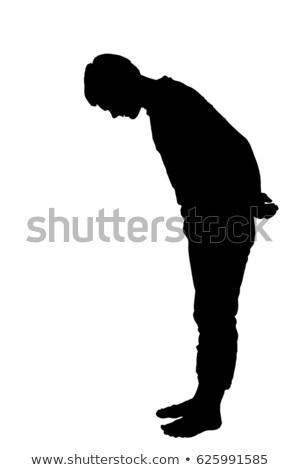 Bűnös férfi lefelé néz arc kéz sok Stock fotó © RAStudio