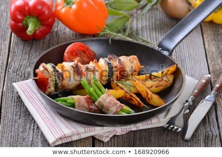 Foto stock: Pollo · ejotes · cadena · frijoles · alimentos