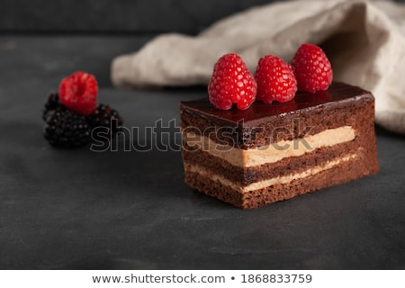 Kek çikolata ahududu parça iki Stok fotoğraf © saje