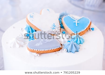 Zdjęcia stock: Ciasto · chrzest · ilustracja · baby · strony · chłopca