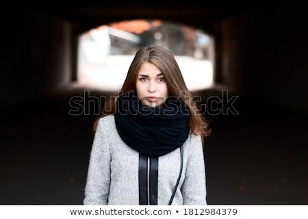fiatal · gyönyörű · barna · hajú · szürke · kabát · arc - stock fotó © bezikus