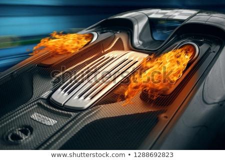 пожарная машина вождения из туннель иллюстрация пейзаж Сток-фото © bluering