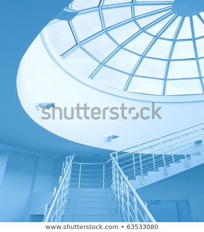 Modern architecture, round staircase and glass ceiling Stock photo © stevanovicigor