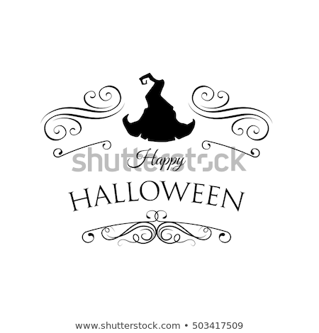 happy halloween greeting card vector illustration bat filigree frame and divider scroll stock photo © khabarushka