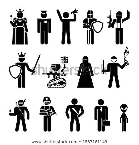 Stock fotó: Terrorista · sziluett · szimbólum · szett · felirat · háború