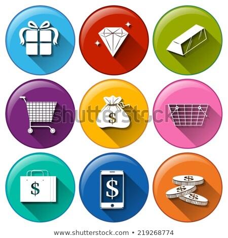 Ikonok nagy gazdaságos értékek illusztráció fehér Stock fotó © bluering