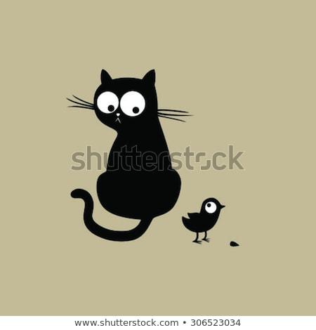szép · macska · madár · fekete · macska · nagy · szemek · festék - stock fotó © Vanzyst