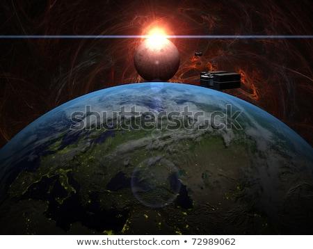 zonsopgang · maan · vrachtschip · wolken · brand · wereldbol - stockfoto © sebikus