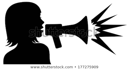 Attractive people with megaphone silhouettes  Stock photo © comicvector703