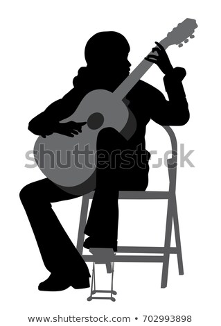 woman playing acoustic guitar silhouette and illustration stock photo © bokica