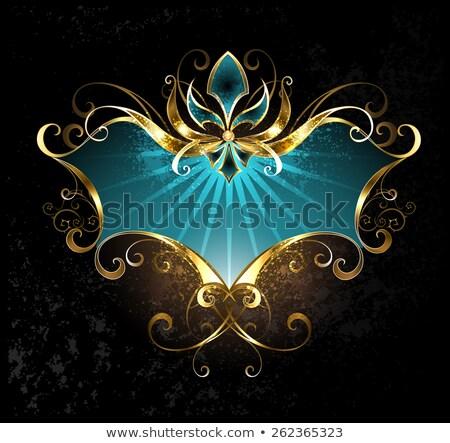 Turkuaz afiş altın zambak karanlık çapraz Stok fotoğraf © blackmoon979