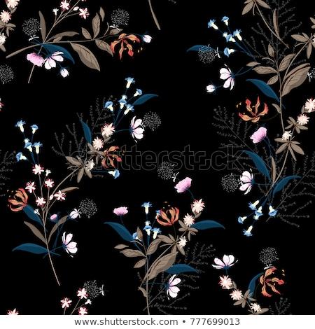 бесшовный · темно · цветочный · шаблон · Purple · бабочки - Сток-фото © sarts