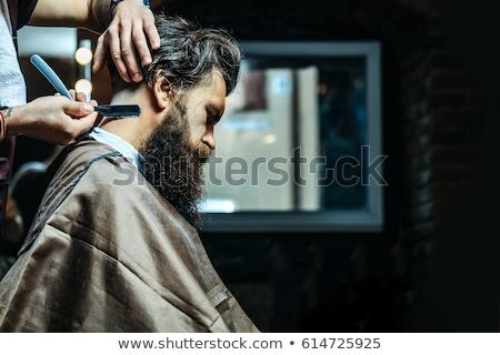 красивый мужчина борода парикмахер Ложь Председатель волос Сток-фото © deandrobot