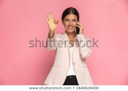 Szczęśliwy kobieta zwycięstwo podpisania mówić Zdjęcia stock © feedough