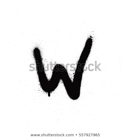 sprayed w font graffiti with leak in black over white stock photo © melvin07