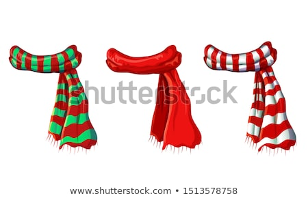 rayé · écharpe · isolé · icône · blanche · hiver - photo stock © orensila