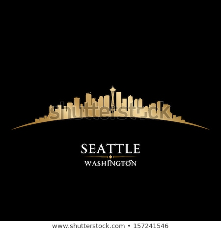 Seattle Skyline Silhouette At Sunrise Сток-фото © YurkaImmortal