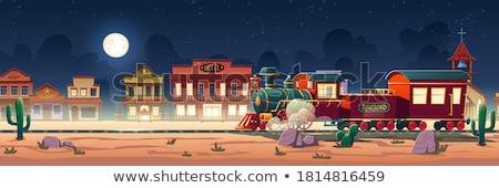 Fából készült vagon épület sivatag illusztráció ház Stock fotó © bluering