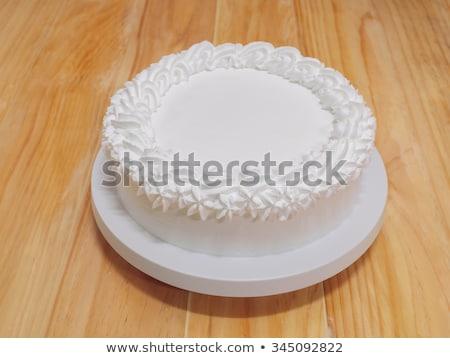 Kókusz friss krém torta születésnapi gyertyák 20-as évek Stock fotó © Sibstock