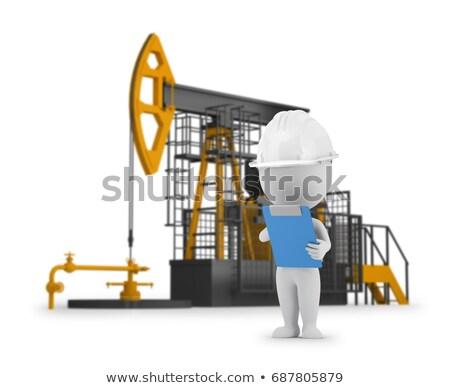 trabalhador · do · petróleo · sucesso · campo · trabalhador · poder · máquina - foto stock © anatolym
