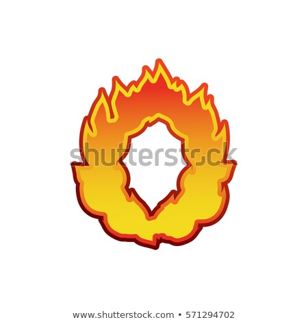 Letter O fire. Flames font lettering. Tattoo alphabet character. Stock photo © popaukropa