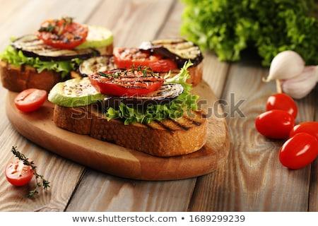 Foto stock: Sanduíche · abobrinha · ervas · pão · café · da · manhã · almoço