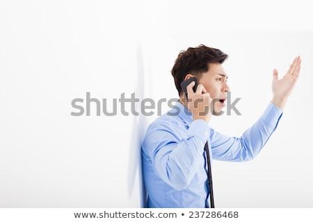 öfkeli · iş · adamı · çığlık · atan · işaret · adam · takım · elbise - stok fotoğraf © rastudio