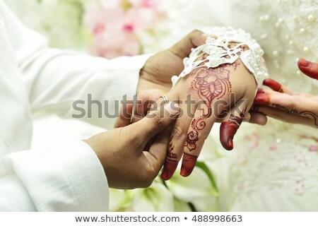 Férfi nő kéz kék gyémántgyűrű fényes Stock fotó © robuart