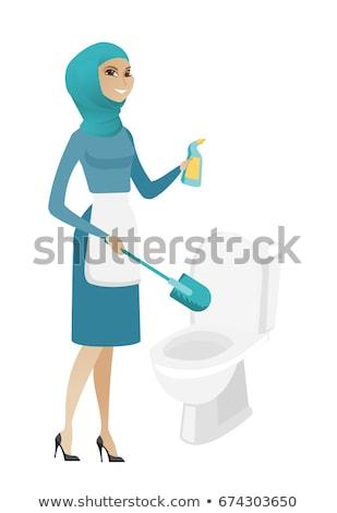 Moslim schonere uniform schoonmaken toilet kom Stockfoto © RAStudio
