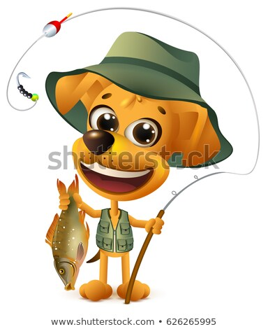 Funny yellow dog fisherman holds large fish. Successful fishing big catch Stock photo © orensila