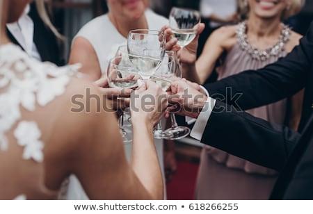 Foto stock: Boda · fiesta · brindis · mujer · amor · pared