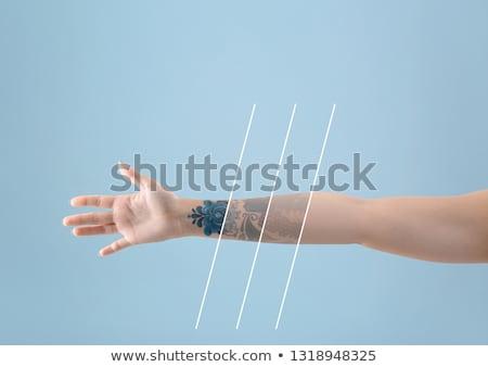tetoválás · női · ajkak · kozmetikai · közelkép · arc - stock fotó © andreypopov