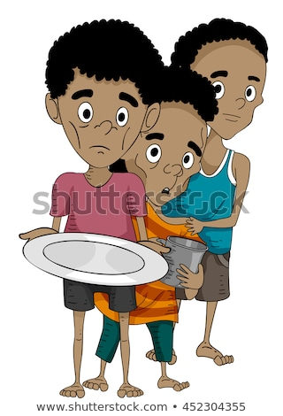 Kids Boys African Line Empty Plate Cup Stock photo © lenm