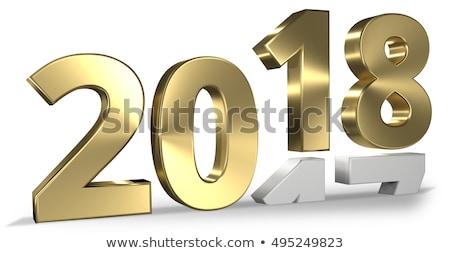 2018 bold white gold silver 3d rendering stock photo © Wetzkaz