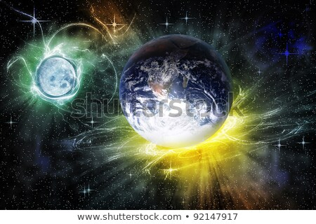 Moon landscape in space. Yellow surface of  planet. Black Cosmos Stock photo © popaukropa
