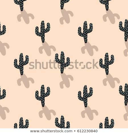 Cactus Plant Vector Seamless Pattern Abstract Cartoon Blush Color Desert Fabric Print Stock fotó © YoPixArt