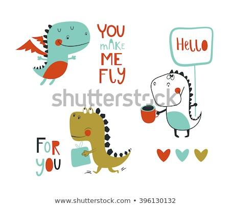 cute · draak · cartoon · illustratie · symbool - stockfoto © kariiika